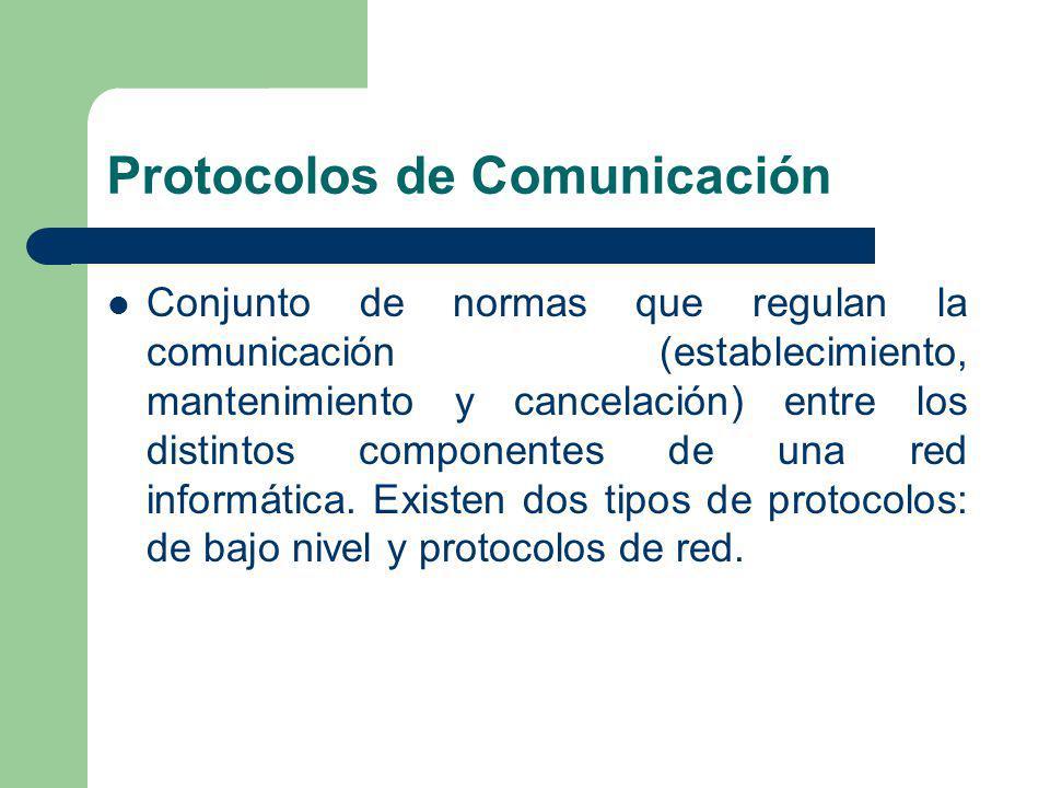Protocolos de Comunicación Conjunto de normas que regulan la comunicación (establecimiento, mantenimiento y cancelación) entre los distintos component