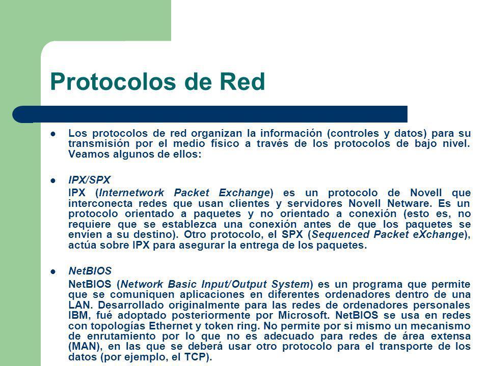Protocolos de Red Los protocolos de red organizan la información (controles y datos) para su transmisión por el medio físico a través de los protocolo