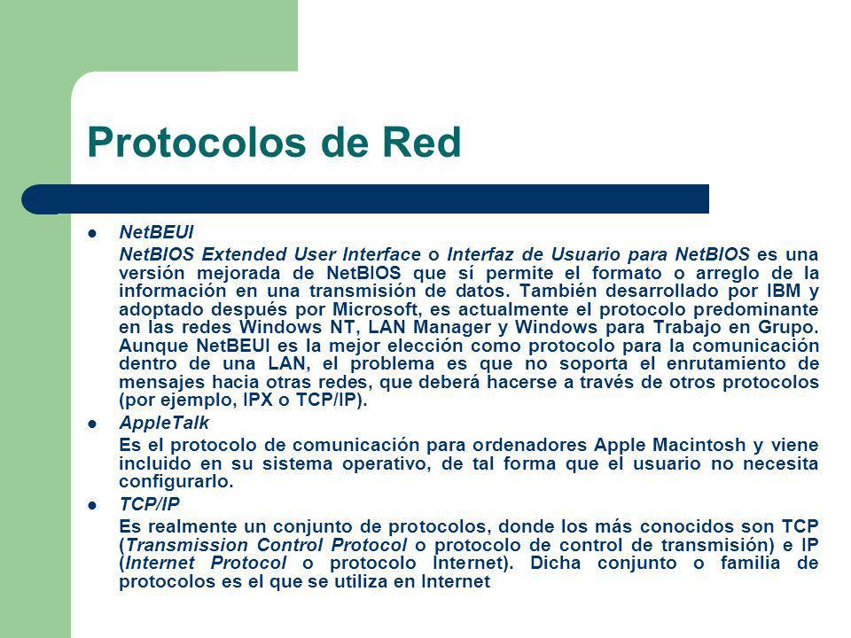 Protocolos de Red NetBEUI NetBIOS Extended User Interface o Interfaz de Usuario para NetBIOS es una versión mejorada de NetBIOS que sí permite el form
