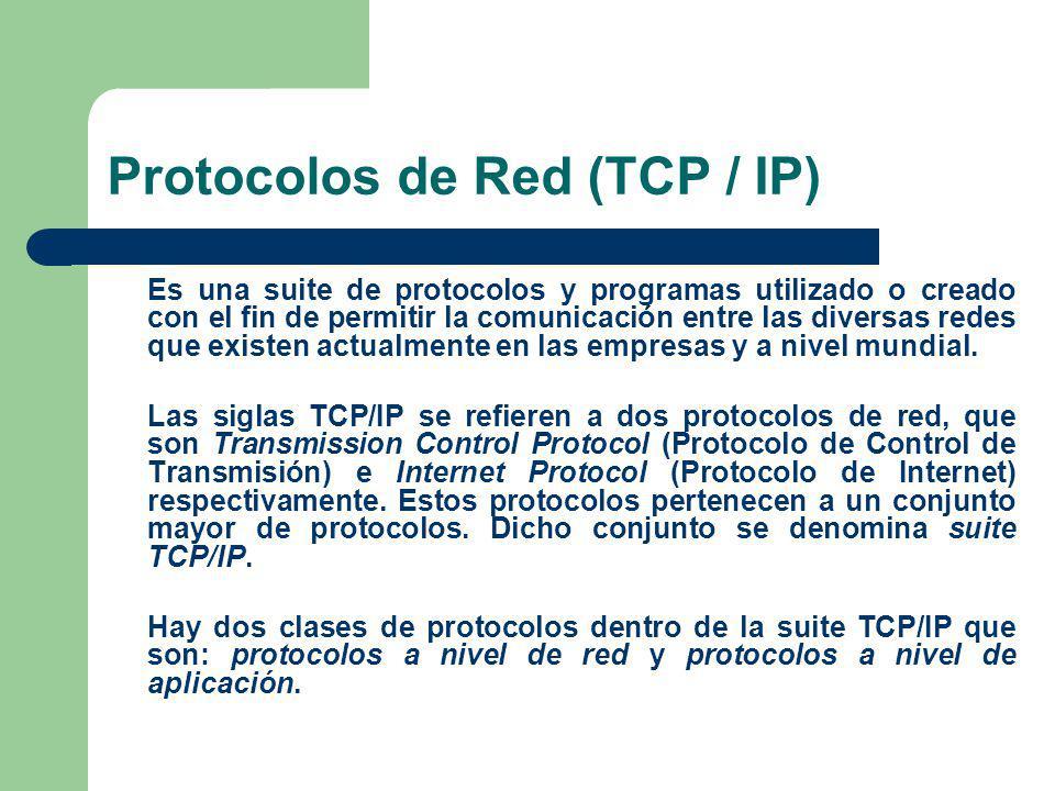 Protocolos de Red (TCP / IP) Es una suite de protocolos y programas utilizado o creado con el fin de permitir la comunicación entre las diversas redes