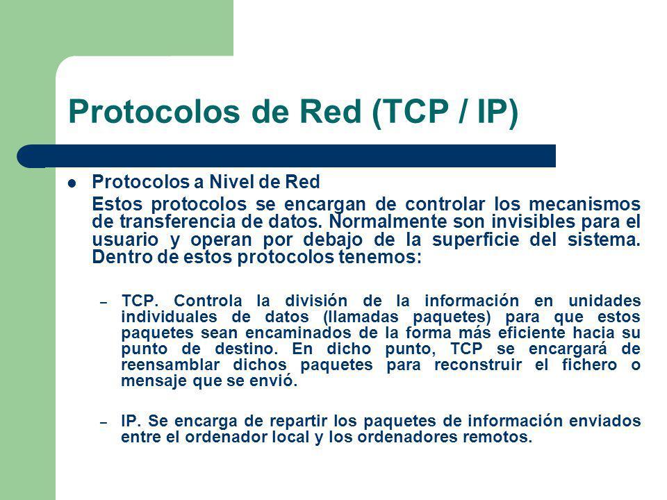 Protocolos de Red (TCP / IP) Protocolos a Nivel de Aplicación Aquí tenemos los protocolos asociados a los distintos servicios de Internet, como FTP, Telnet, Gopher, HTTP, etc.