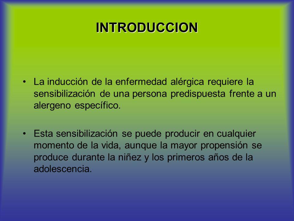 INTRODUCCION La inducción de la enfermedad alérgica requiere la sensibilización de una persona predispuesta frente a un alergeno específico. Esta sens