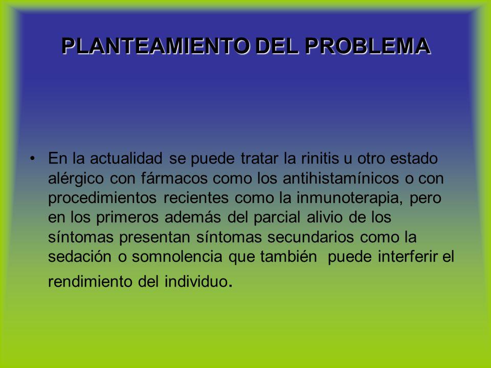PLANTEAMIENTO DEL PROBLEMA En la actualidad se puede tratar la rinitis u otro estado alérgico con fármacos como los antihistamínicos o con procedimien