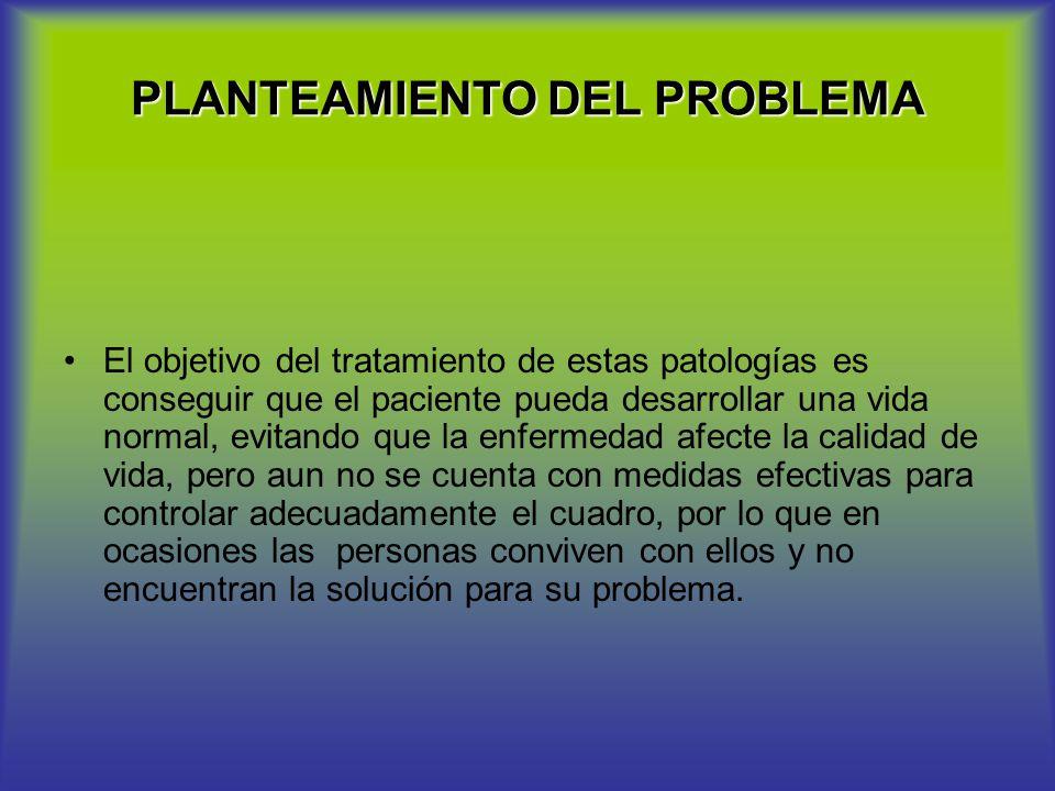 PLANTEAMIENTO DEL PROBLEMA El objetivo del tratamiento de estas patologías es conseguir que el paciente pueda desarrollar una vida normal, evitando qu