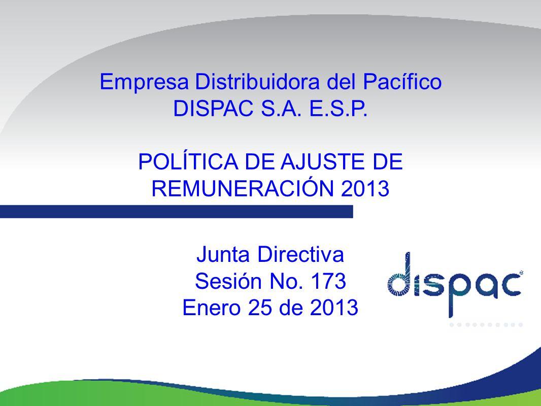 Empresa Distribuidora del Pacífico DISPAC S.A. E.S.P. POLÍTICA DE AJUSTE DE REMUNERACIÓN 2013 Junta Directiva Sesión No. 173 Enero 25 de 2013