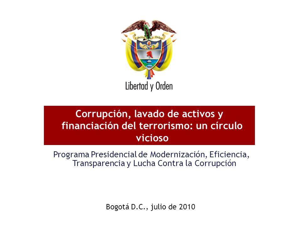 Programa Presidencial de Modernización, Eficiencia, Transparencia y Lucha Contra la Corrupción Corrupción, lavado de activos y financiación del terror