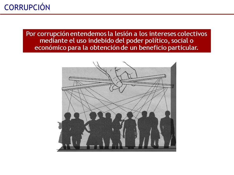 CORRUPCIÓN Por corrupción entendemos la lesión a los intereses colectivos mediante el uso indebido del poder político, social o económico para la obte
