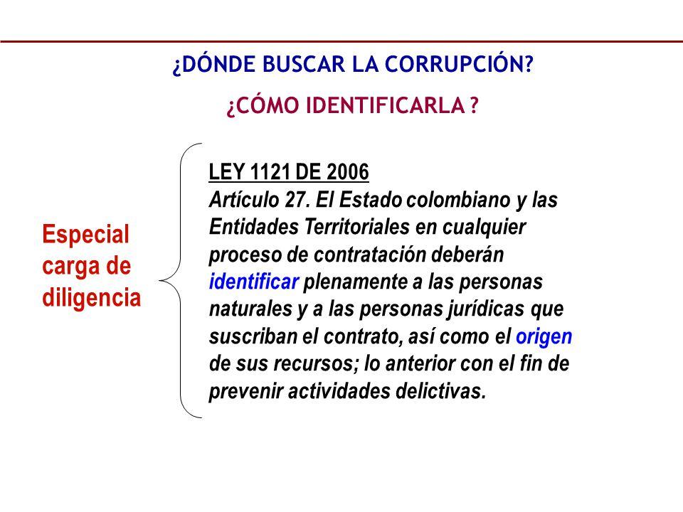 LEY 1121 DE 2006 Artículo 27. El Estado colombiano y las Entidades Territoriales en cualquier proceso de contratación deberán identificar plenamente a