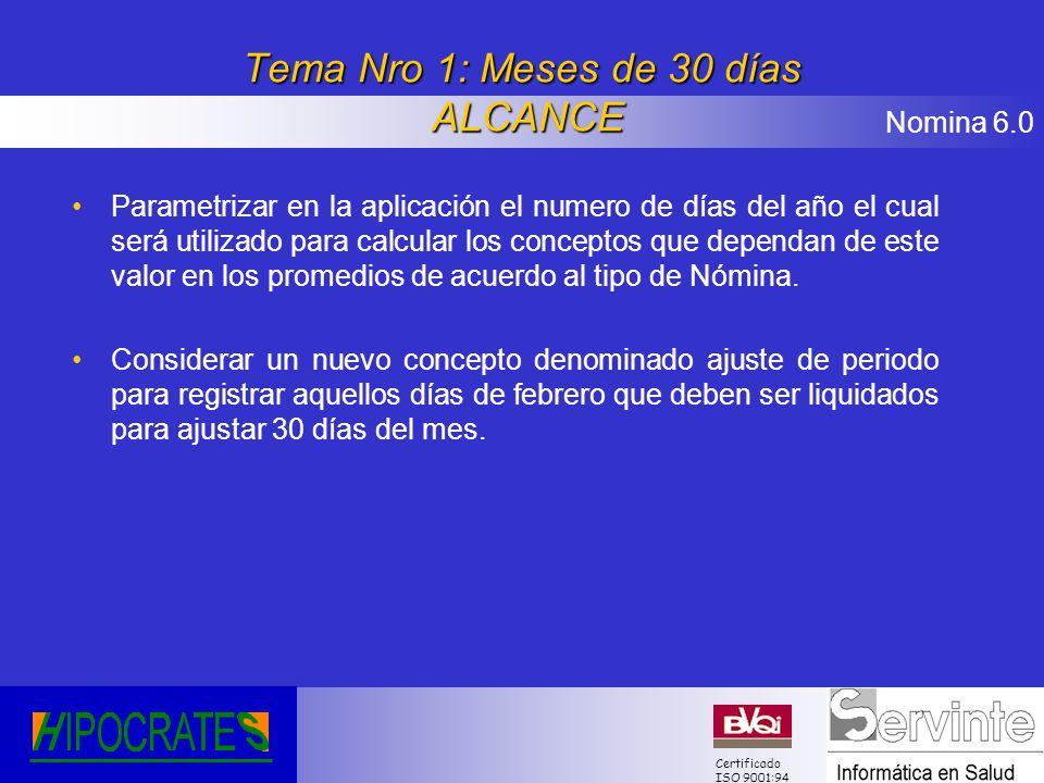 Nomina 6.0 Certificado ISO 9001:94 Tema Nro 1: Meses de 30 días ALCANCE Parametrizar en la aplicación el numero de días del año el cual será utilizado