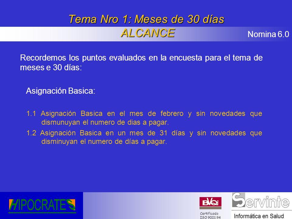 Nomina 6.0 Certificado ISO 9001:94 Tema Nro 1: Meses de 30 días ALCANCE Recordemos los puntos evaluados en la encuesta para el tema de meses e 30 días