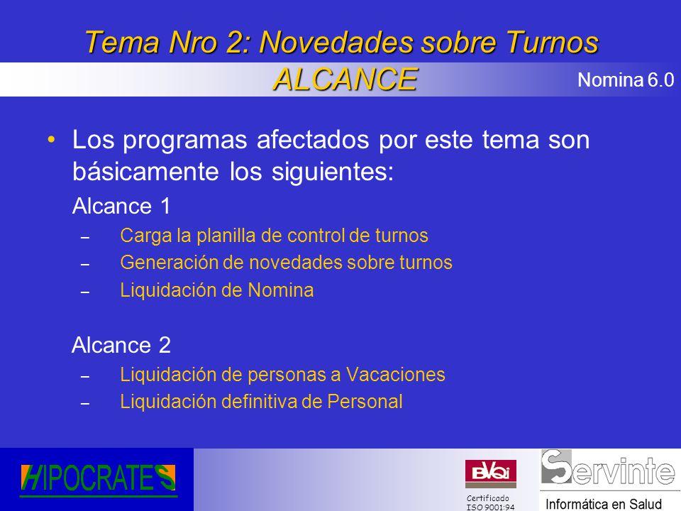 Nomina 6.0 Certificado ISO 9001:94 Tema Nro 2: Novedades sobre Turnos ALCANCE Los programas afectados por este tema son básicamente los siguientes: Al