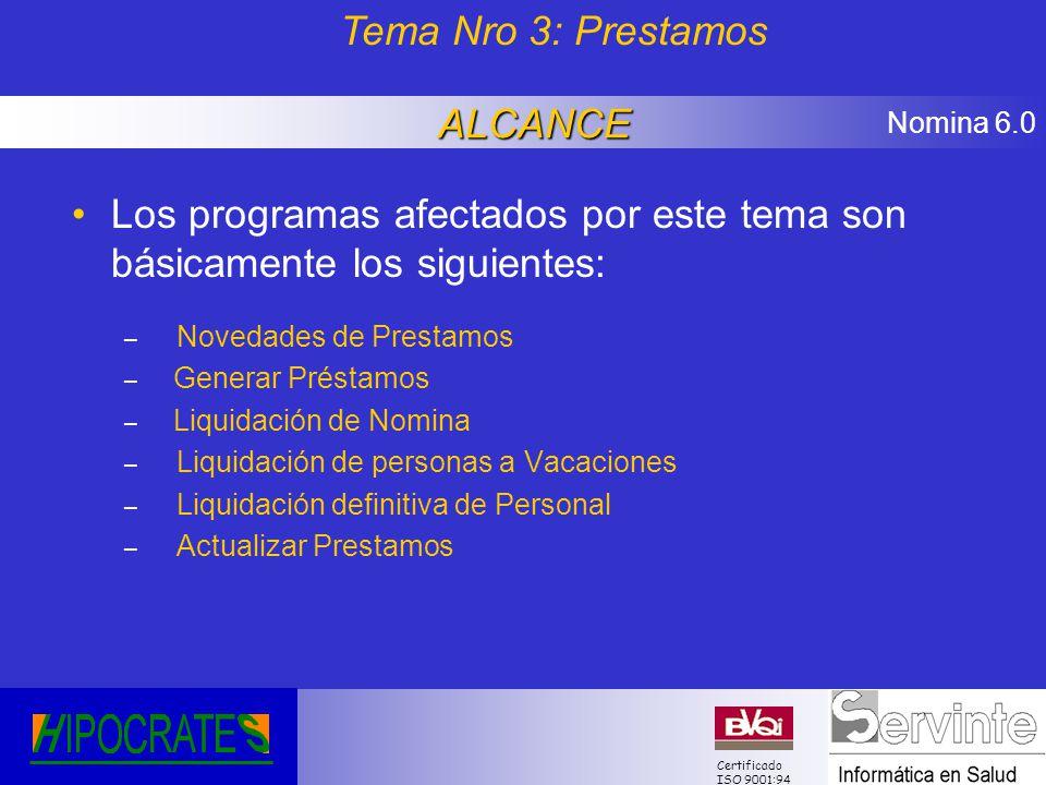 Nomina 6.0 Certificado ISO 9001:94 Los programas afectados por este tema son básicamente los siguientes: – Novedades de Prestamos – Generar Préstamos