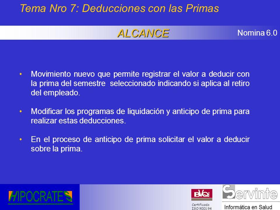 Nomina 6.0 Certificado ISO 9001:94 Tema Nro 7: Deducciones con las PrimasALCANCE Movimiento nuevo que permite registrar el valor a deducir con la prim