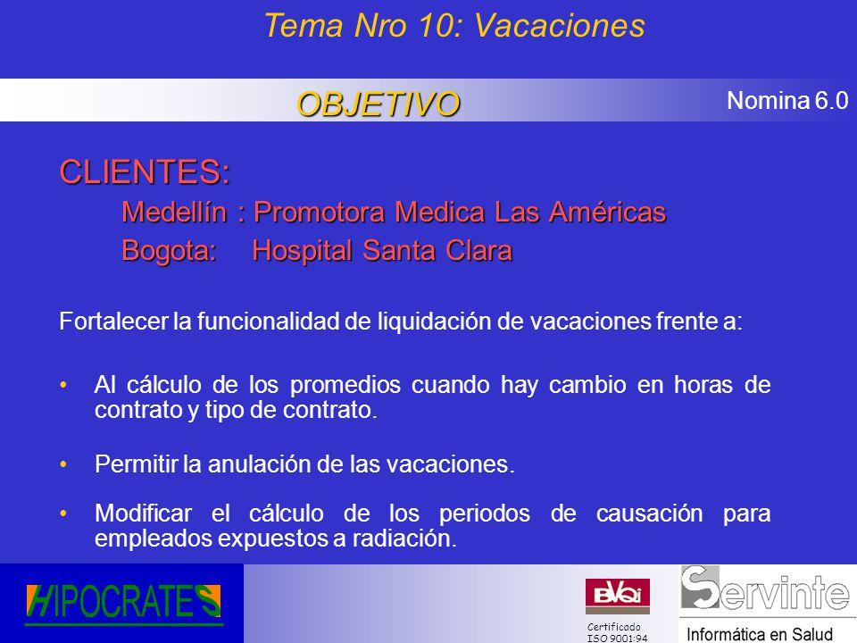 Nomina 6.0 Certificado ISO 9001:94 CLIENTES: Medellín : Promotora Medica Las Américas Bogota: Hospital Santa Clara Fortalecer la funcionalidad de liqu
