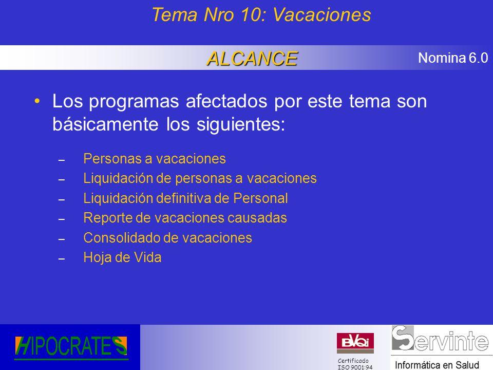 Nomina 6.0 Certificado ISO 9001:94 Los programas afectados por este tema son básicamente los siguientes: – Personas a vacaciones – Liquidación de pers
