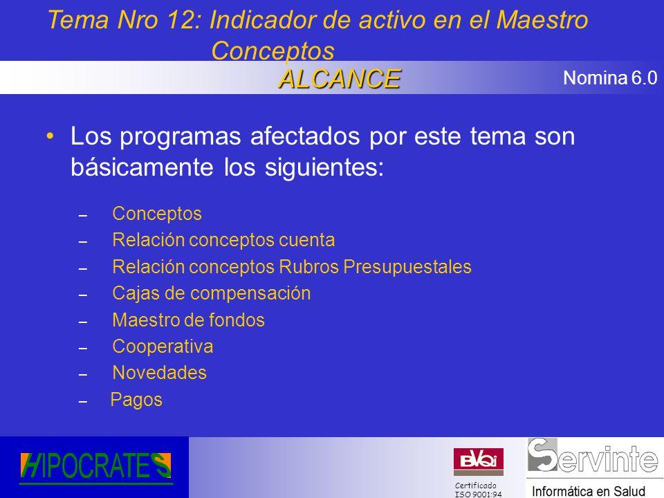 Nomina 6.0 Certificado ISO 9001:94 Los programas afectados por este tema son básicamente los siguientes: – Conceptos – Relación conceptos cuenta – Rel