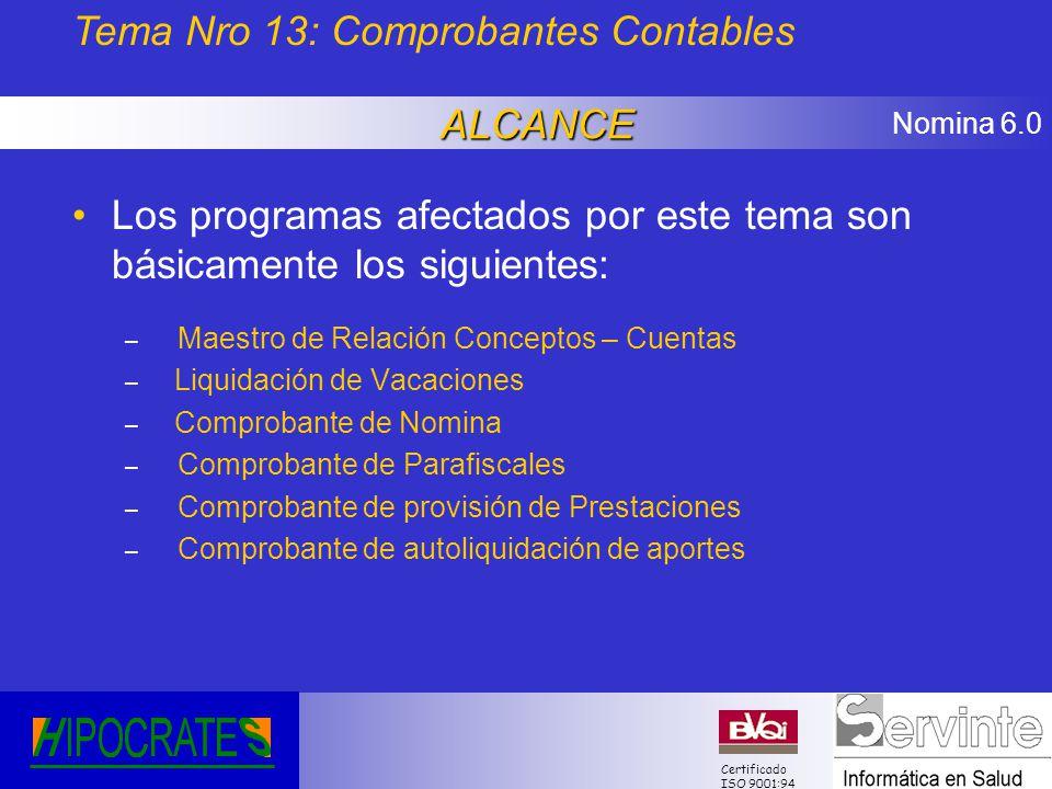 Nomina 6.0 Certificado ISO 9001:94 Los programas afectados por este tema son básicamente los siguientes: – Maestro de Relación Conceptos – Cuentas – L