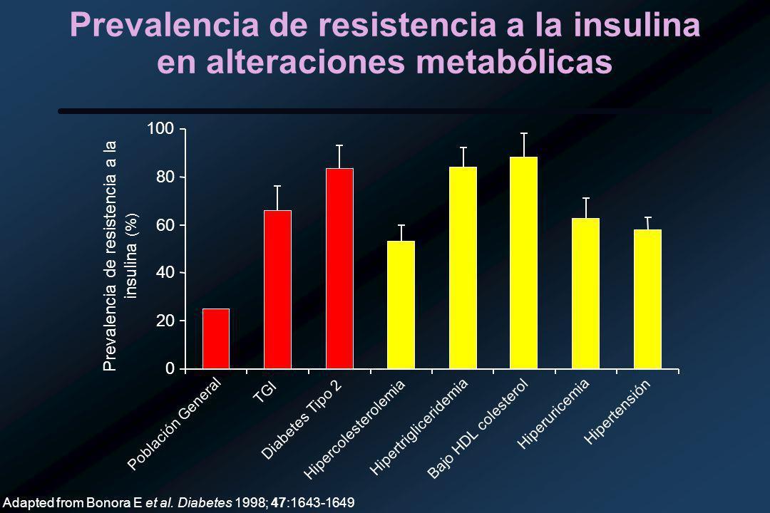 Prevalencia de resistencia a la insulina en alteraciones metabólicas 0 20 40 60 80 100 Población General TGI Diabetes Tipo 2 Hipercolesterolemia Hipertrigliceridemia Bajo HDL colesterol Hiperuricemia Hipertensión Prevalencia de resistencia a la insulina (%) Adapted from Bonora E et al.