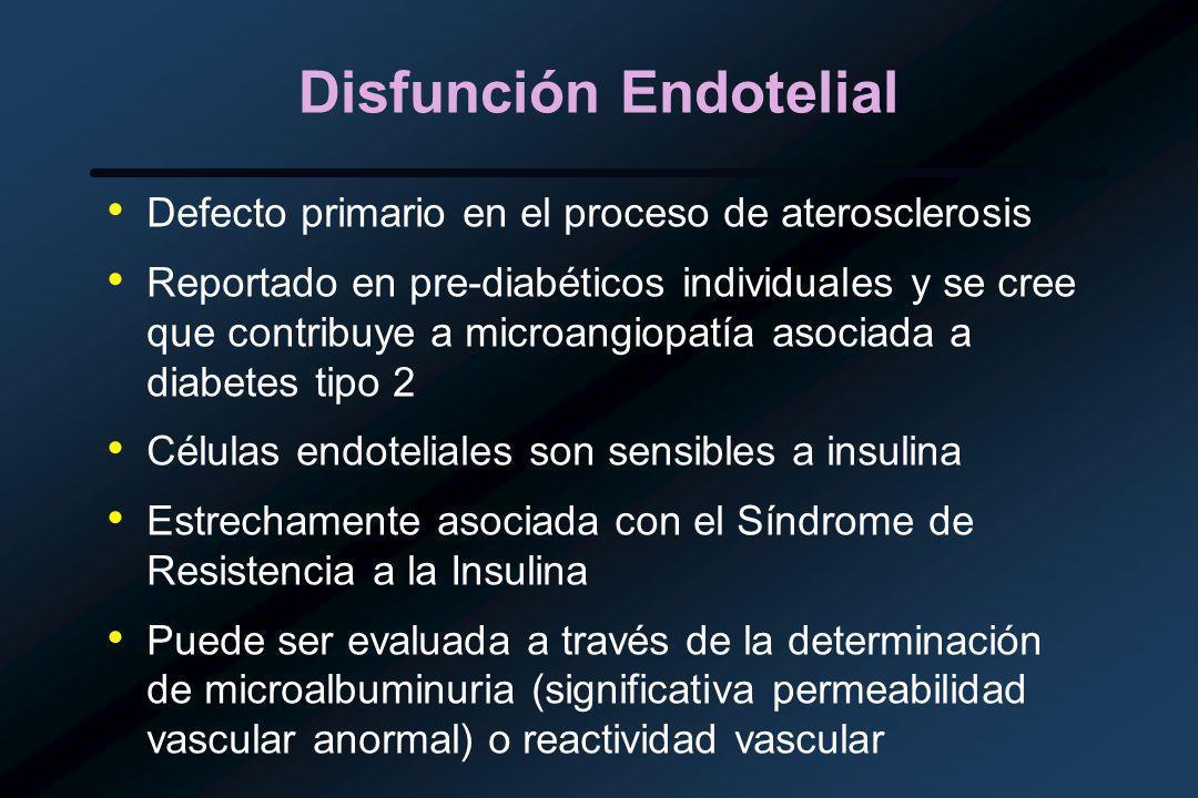 Disfunción Endotelial Defecto primario en el proceso de aterosclerosis Reportado en pre-diabéticos individuales y se cree que contribuye a microangiopatía asociada a diabetes tipo 2 Células endoteliales son sensibles a insulina Estrechamente asociada con el Síndrome de Resistencia a la Insulina Puede ser evaluada a través de la determinación de microalbuminuria (significativa permeabilidad vascular anormal) o reactividad vascular