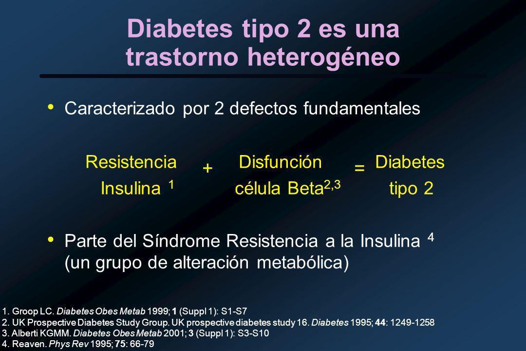 Diabetes tipo 2 es una trastorno heterogéneo Caracterizado por 2 defectos fundamentales Resistencia + Disfunción = Diabetes Insulina 1 célula Beta 2,3 tipo 2 Parte del Síndrome Resistencia a la Insulina 4 (un grupo de alteración metabólica) 1.