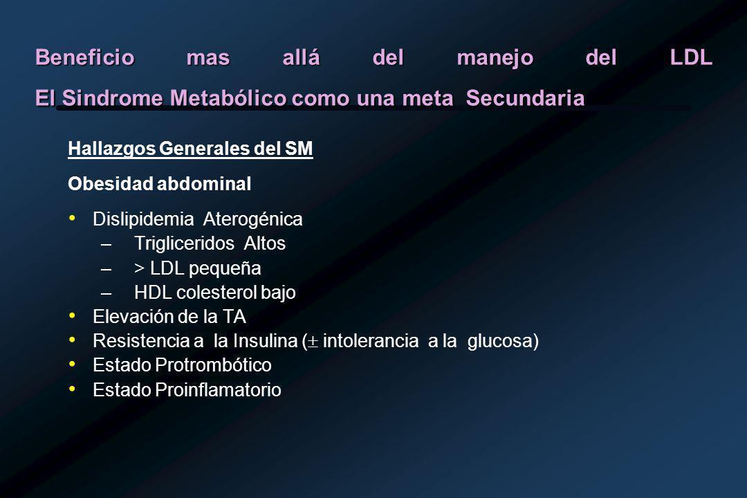 Beneficio mas allá del manejo del LDL El Sindrome Metabólico como una meta Secundaria Hallazgos Generales del SM Obesidad abdominal Dislipidemia Aterogénica –Trigliceridos Altos –> LDL pequeña –HDL colesterol bajo Elevación de la TA Resistencia a la Insulina ( intolerancia a la glucosa) Estado Protrombótico Estado Proinflamatorio