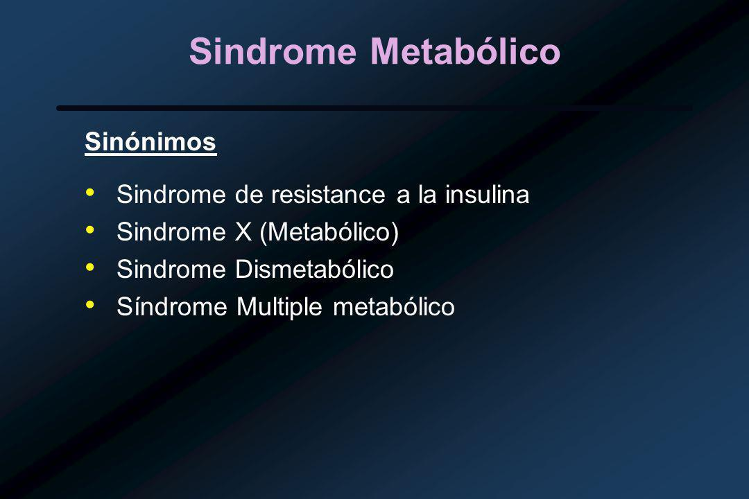 Sindrome Metabólico Sinónimos Sindrome de resistance a la insulina Sindrome X (Metabólico) Sindrome Dismetabólico Síndrome Multiple metabólico