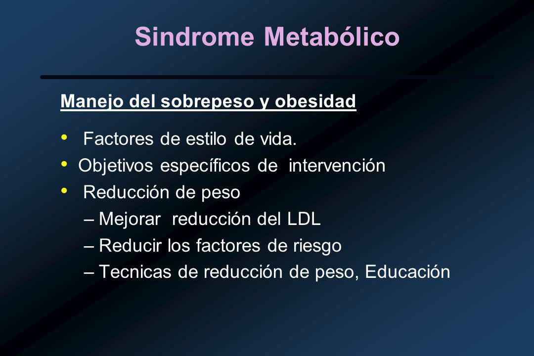 Sindrome Metabólico Manejo del sobrepeso y obesidad Factores de estilo de vida.