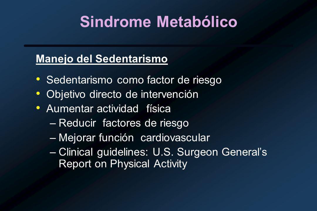 Sindrome Metabólico Manejo del Sedentarismo Sedentarismo como factor de riesgo Objetivo directo de intervención Aumentar actividad física –Reducir factores de riesgo –Mejorar función cardiovascular –Clinical guidelines: U.S.