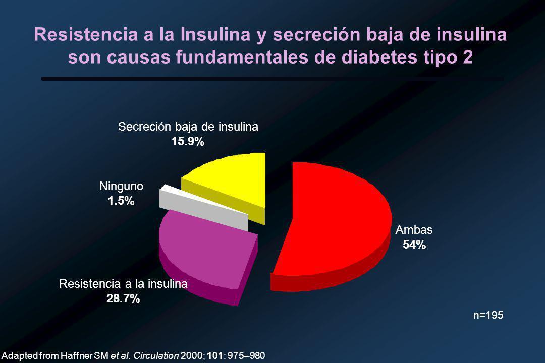 Resistencia a la Insulina y secreción baja de insulina son causas fundamentales de diabetes tipo 2 Ambas 54% Resistencia a la insulina 28.7% Ninguno 1.5% Secreción baja de insulina 15.9% n=195 Adapted from Haffner SM et al.