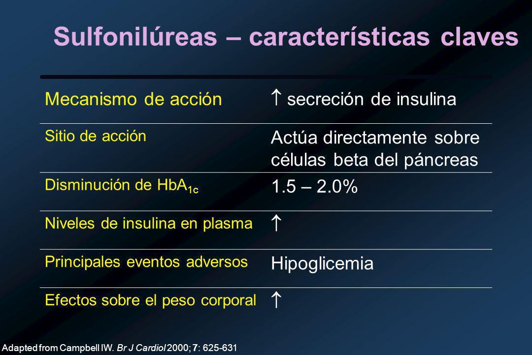 Sulfonilúreas – características claves Mecanismo de acción secreción de insulina Sitio de acción Actúa directamente sobre células beta del páncreas Disminución de HbA 1c 1.5 – 2.0% Niveles de insulina en plasma Principales eventos adversos Hipoglicemia Efectos sobre el peso corporal Adapted from Campbell IW.