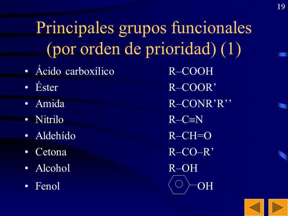 18 Grupos funcionales. Series homólogas. Grupo funcional: Es un átomo o grupo de átomos unidos de manera característica y que determinan, preferenteme