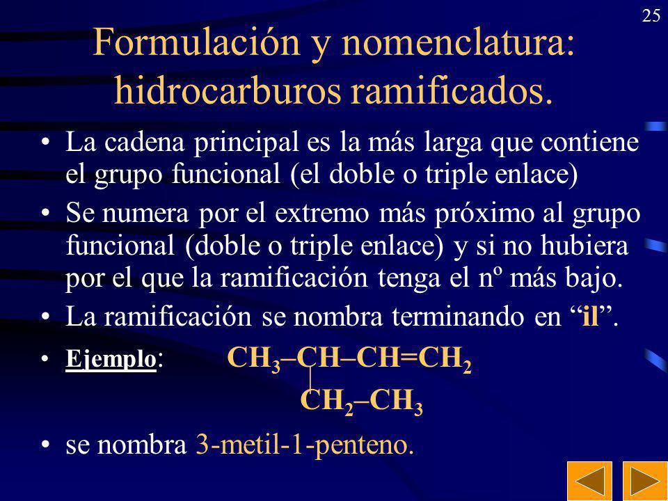 24 Formulación y nomenclatura: hidrocarburos de cadena abierta. ALCANOS:ALCANOS: Prefijo (nº C) + sufijo ano –Ejemplo: –Ejemplo: CH 3 –CH 2 –CH 3 : pr
