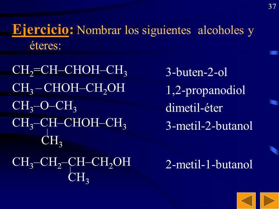 36 CH 3 –CH 2 –CH 2 –CH 2 OH CH 2 OH–CHOH–CH 2 OH CH 3 –CH 2 –CH=CH–CH 2 OH CH 3 –CH–CH 2 OH | CH 3 CH 3 | CH 3 –C–CH 2 –CH 2 OH | CH 3 Ejercicio: Formular los siguientes alcoholes y éteres: 1-butanol propanotriol 2-penten-1-ol metil-1-propanol 3,3-dimetil-1-butanol