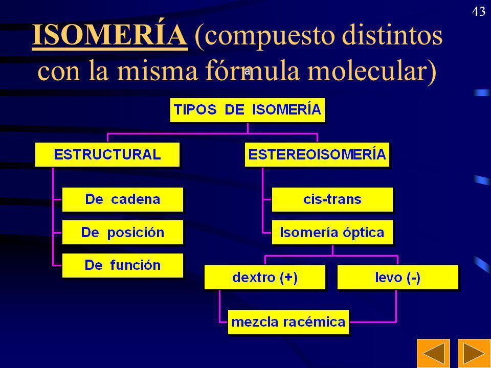 42 Formulación y nomenclatura: Otros derivados (3). Derivados halogenados:Derivados halogenados: Prefijo (nombre del halógeno) + nombre del compuesto