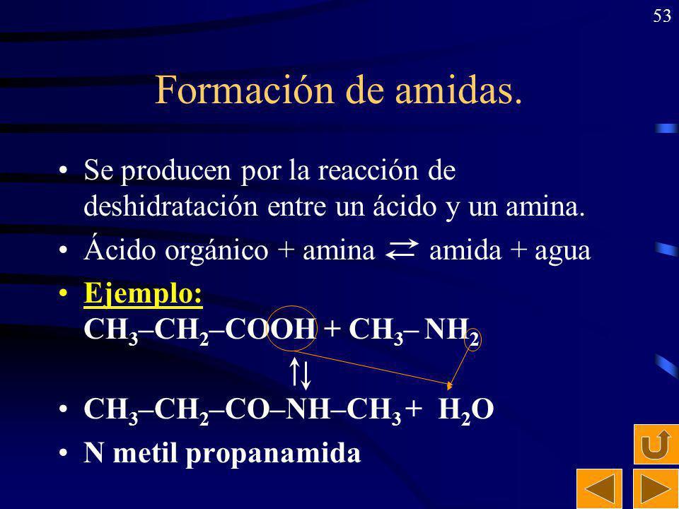 52 Formación de ésteres. Se producen por la reacción de deshidratación entre un ácido y un alcohol. Ácido orgánico + alcohol éster + agua Ejemplo: CH