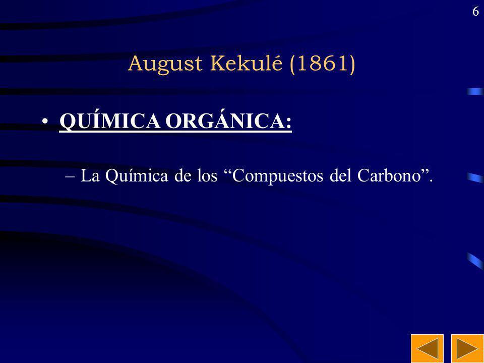 5 Friedrich Wölher (1828) Primera Síntesis orgánica:Primera Síntesis orgánica: calor NH 4 OCN NH 2 CONH 2 ( cianato de amonio) (urea)