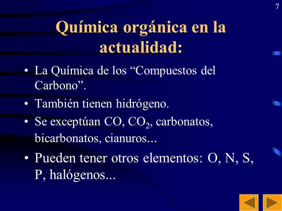 7 Química orgánica en la actualidad: La Química de los Compuestos del Carbono.