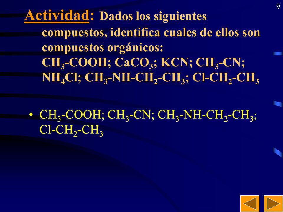 9 Actividad: Dados los siguientes compuestos, identifica cuales de ellos son compuestos orgánicos: CH 3 -COOH; CaCO 3 ; KCN; CH 3 -CN; NH 4 Cl; CH 3 -NH-CH 2 -CH 3 ; Cl-CH 2 -CH 3 CH 3 -COOH; CH 3 -CN; CH 3 -NH-CH 2 -CH 3 ; Cl-CH 2 -CH 3