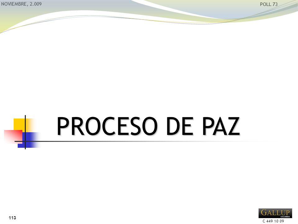 C 449 10 09 NOVIEMBRE, 2.009 POLL 73 PROCESO DE PAZ 113