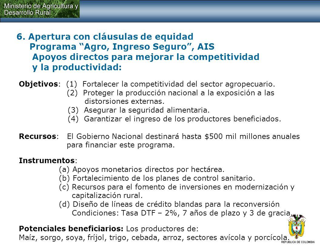 6. Apertura con cláusulas de equidad Programa Agro, Ingreso Seguro, AIS Apoyos directos para mejorar la competitividad y la productividad: Objetivos: