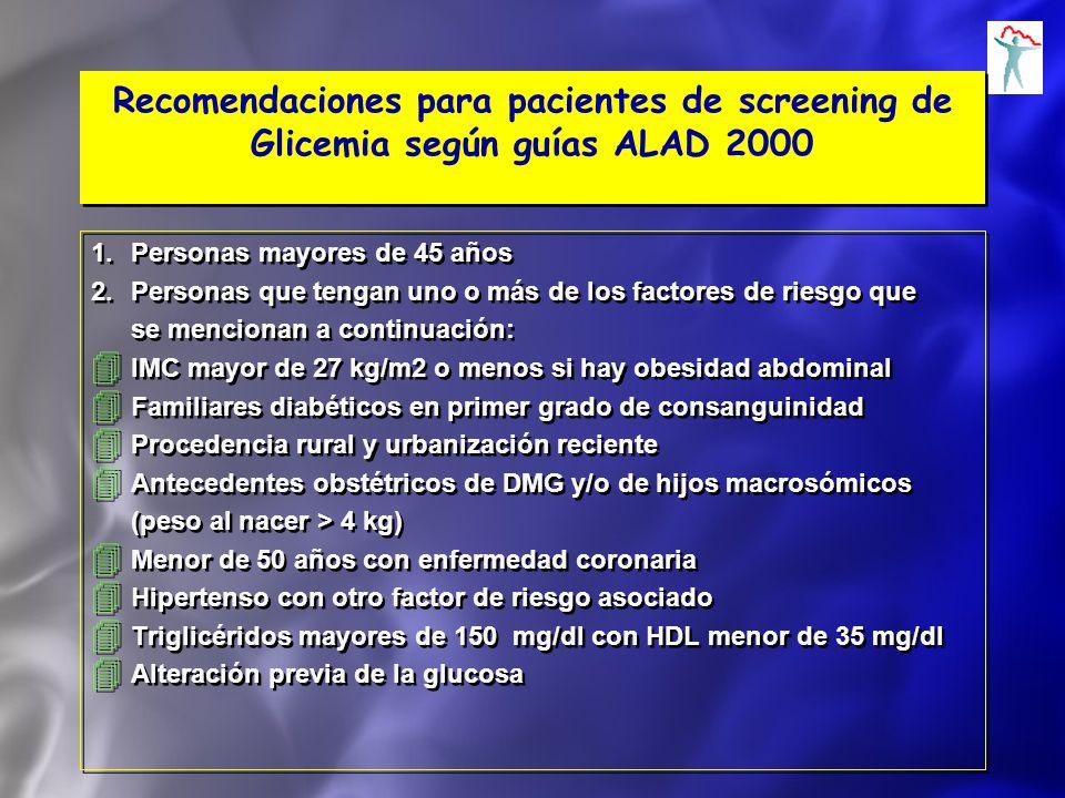 Recomendaciones para pacientes de screening de Glicemia según guías ALAD 2000 1.Personas mayores de 45 años 2.Personas que tengan uno o más de los fac