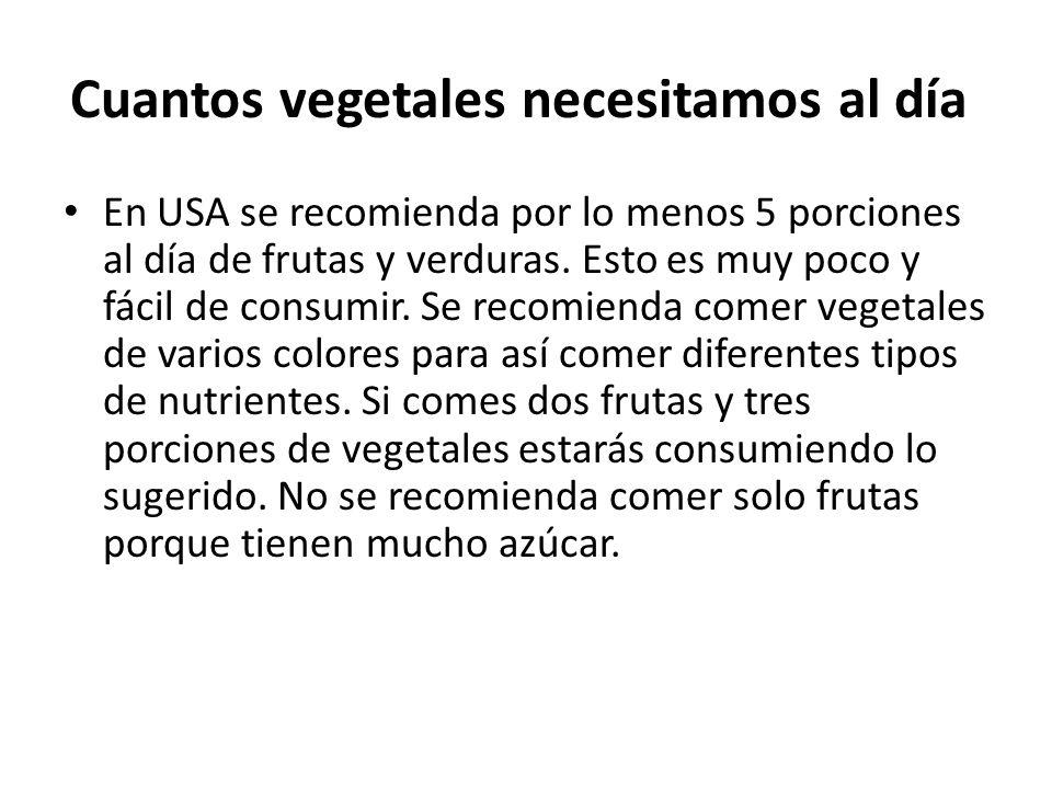 Ejemplos de porciones de vegetales: 1 porción de fruta puede ser: una banana, una manzana o naranja chica, media toronja, una rebanada de melón, una cucharada de uvas pasas, un vaso de jugo de fruta etc.