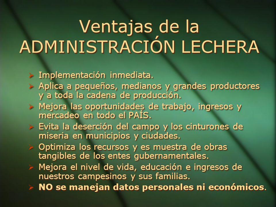 Ventajas de la ADMINISTRACIÓN LECHERA Implementación inmediata.