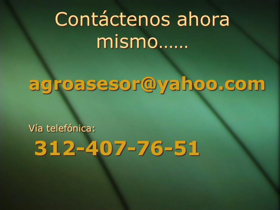 Contáctenos ahora mismo…… Contáctenos ahora mismo…… agroasesor@yahoo.com Vía telefónica: 312-407-76-51 agroasesor@yahoo.com Vía telefónica: 312-407-76-51