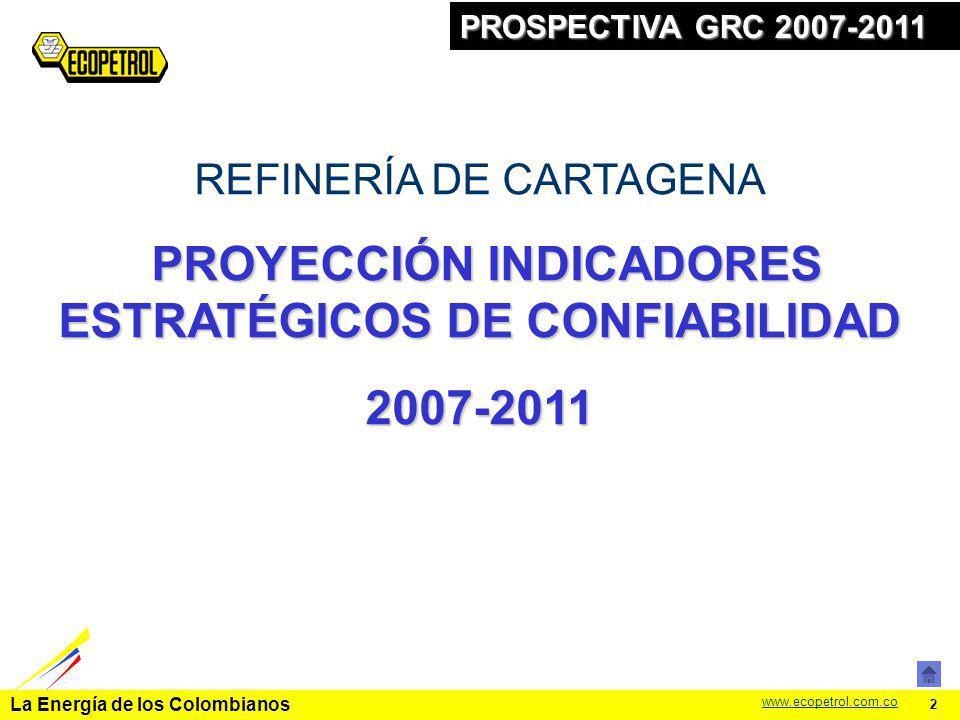 La Energía de los Colombianos www.ecopetrol.com.co 2 PROSPECTIVA GRC 2007-2011 REFINERÍA DE CARTAGENA PROYECCIÓN INDICADORES ESTRATÉGICOS DE CONFIABIL