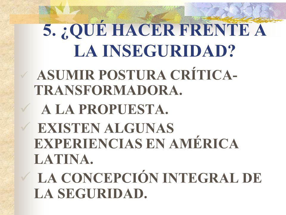 5. ¿QUÉ HACER FRENTE A LA INSEGURIDAD? ASUMIR POSTURA CRÍTICA- TRANSFORMADORA. A LA PROPUESTA. EXISTEN ALGUNAS EXPERIENCIAS EN AMÉRICA LATINA. LA CONC