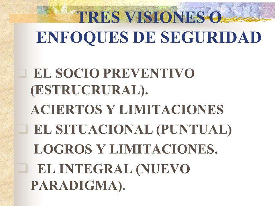 TRES VISIONES O ENFOQUES DE SEGURIDAD EL SOCIO PREVENTIVO (ESTRUCRURAL). ACIERTOS Y LIMITACIONES EL SITUACIONAL (PUNTUAL) LOGROS Y LIMITACIONES. EL IN