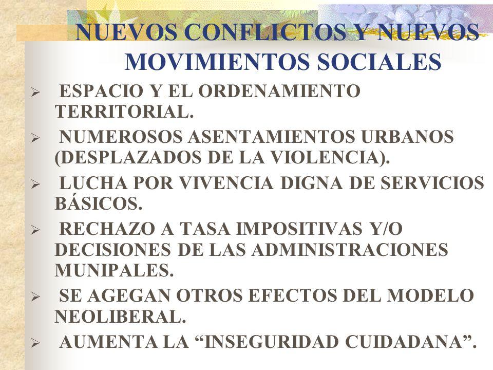 NUEVOS CONFLICTOS Y NUEVOS MOVIMIENTOS SOCIALES ESPACIO Y EL ORDENAMIENTO TERRITORIAL. NUMEROSOS ASENTAMIENTOS URBANOS (DESPLAZADOS DE LA VIOLENCIA).