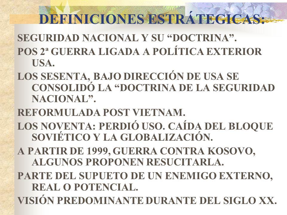 DEFINICIONES ESTRÁTEGICAS: SEGURIDAD NACIONAL Y SU DOCTRINA. POS 2ª GUERRA LIGADA A POLÍTICA EXTERIOR USA. LOS SESENTA, BAJO DIRECCIÓN DE USA SE CONSO