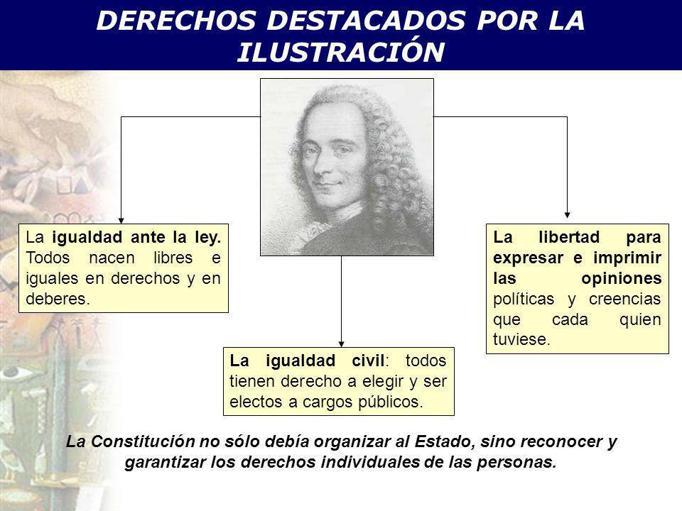 DERECHOS DESTACADOS POR LA ILUSTRACIÓN La igualdad ante la ley. Todos nacen libres e iguales en derechos y en deberes. La igualdad civil: todos tienen